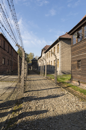 extermination: AUSCHWITZ, POLAND - OCTOBER 25, 2014: Barbed wire in the Konzentrationslager Auschwitz was the largest of the German Nazi concentration and extermination camps. Located in southern Poland it took its name from the nearby town of Oswiecim (Auschwitz in Ger
