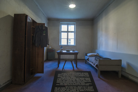 barrack: AUSCHWITZ, POLAND - OCTOBER 25, 2014:  Inside of barrack in concentration camp Auschwitz, Brzezinka, Poland. 1.1 million people mostly Jews from allover Europe were killed in gas chambers. Editorial