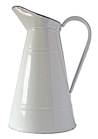 white metal: Old white metal jar isolated on white