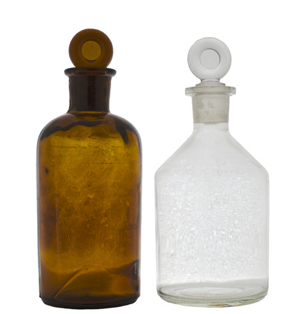 receptacle: Chemical laboratory flasks., amber and white