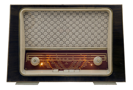 old time: Ancient radio, 50s, isolated on white background