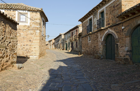 """way of st  james: Castrillo de los Polvazares is a village situated in Leon, in North-west of Spain. it is one of the few places of the """"Maragatería"""" which still keeps its traditions It is located at The Way of St. James Stock Photo"""