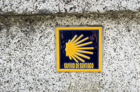 way of st  james: A tile with a shell: symbol Way Of St James