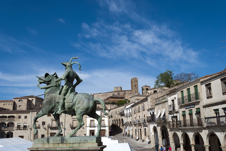pizarro: Statue of Francisco Pizarro in the Main Square of Trujillo, Caceres, Spain