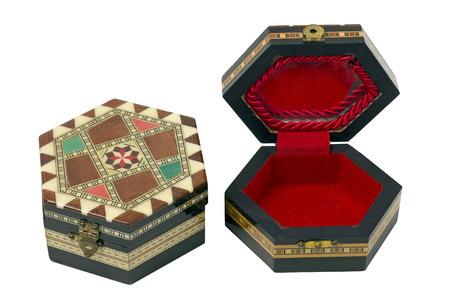 grecas: Dos Cajas hexagonal de madera con adornos de marqueter�a. Se utilizan como cajas de joyas