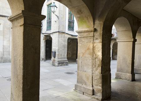 arcades: Arcades in Santiago de Compostela for keep the rain Stock Photo