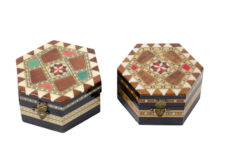 marquetry: Two Boxes Hexagonal wooden with marquetry ornaments. They are used as jewelry boxes