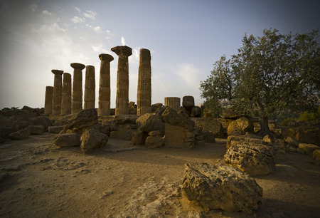 agrigento: Remains of the Temple of Heracles in valley of the temples, Agrigento-Sicily Stock Photo