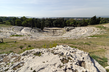 syracuse: The gleaming white marble theater of Syracuse, Sicily, Italy
