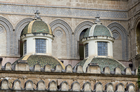 The Baroque small side cupolas by Ferdinando Fuga.. Detail of the facade of the Palermo Catholic Cathedral.
