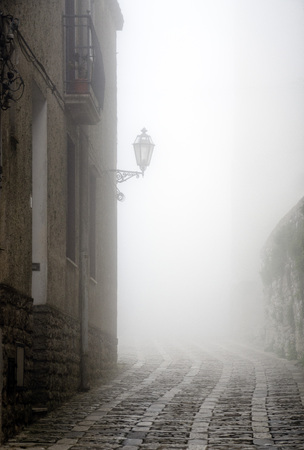 erice: The town of Erice, Sicily, on a foggy day