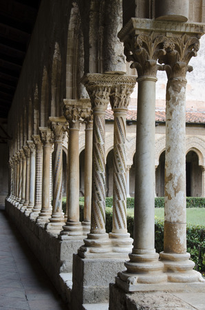 allegory painting: Columns perspective in the Monreale Cloister