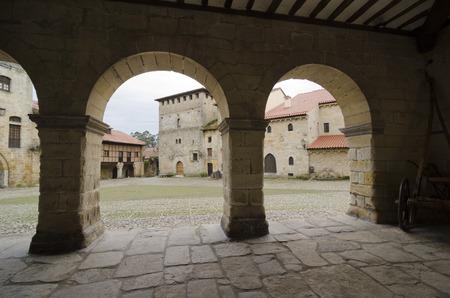 cantabria: Popular architecture (Casonas montanesas) in the town of Santillana del Mar, Cantabria, Spain.
