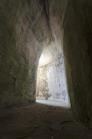 dionysus: Cave exit of Ear of Dionysus in Syracuse Sicily Italy