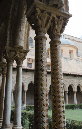 allegory painting: Columns row in the cloister of Monreale
