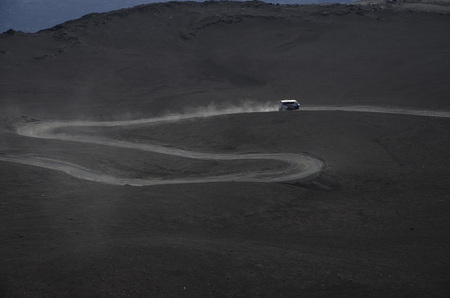 etna: ATVs amounting part of the volcano Etna Stock Photo