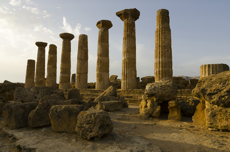 valley of the temples: Remains of the Temple of Heracles in valley of the temples,  Agrigento-Sicily Stock Photo