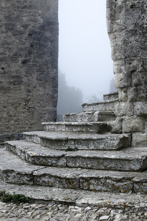 erice: steps of a temple in Erice, Sicily