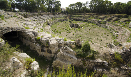 roman amphitheater: ruins of the Roman amphitheater in Syracuse Stock Photo