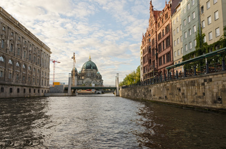 spree: View of the Cathedral of Berlin from the Spree River at sunset
