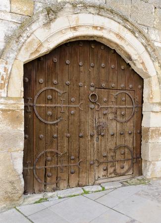 doorstep: Ancient Spanish doorstep in a city in Spain Stock Photo