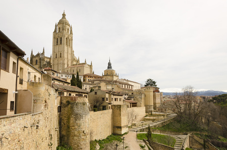 surrounding: View of Segovia Cathedral and surrounding landscape Stock Photo