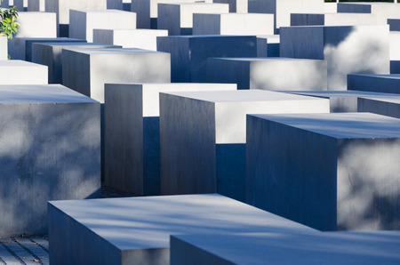 murdered: A view on the Holocaust Memorial in Berlin. There are 2,711 concrete blocks. It reminds on the murdered Jews of Europe. It is located in the heart of Berlin. Editorial