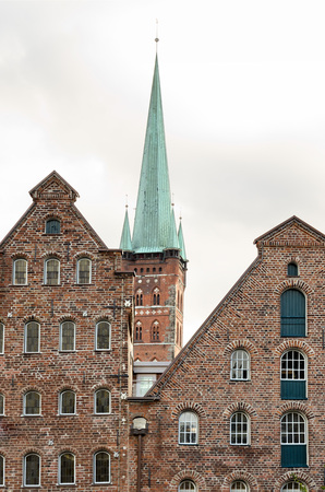 german north sea region: Facade of traditional buildings in Lubeck, northern Germany