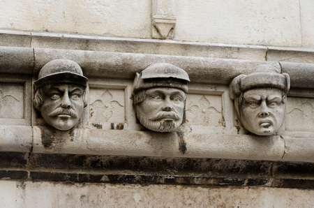former yugoslavia: Stone heads at Cathedral of St James build in Gothic and Renaissance style.