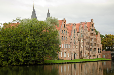 trave: The Salzspeicher (salt storehouses) of Lubeck, Germany, are historic brick buildings on the Upper Trave River next to the Holstentor (the western city gate), built in the 16th-18th Century