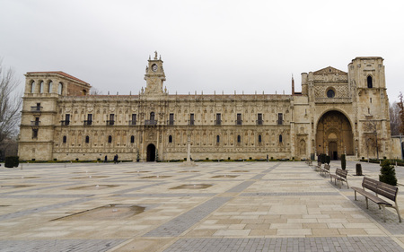 way of st  james: The convent of San Marcos in León is one of the most important monuments of the Renaissance in Spain. It is one of the greatest architectural jewels of León. It is a historical hostal of pilgrims in the St. James way.