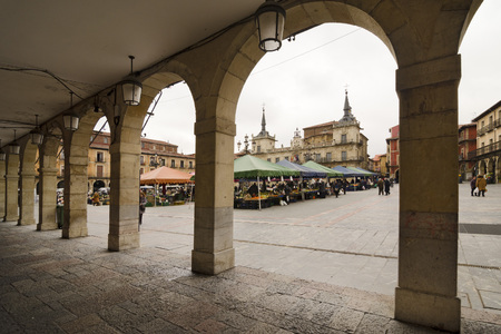 archways: Arcades of the main square of the town of Leon, Spain.