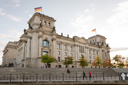 legislature: Reichstag building, Mitte, Berlin, Germany. Viewed from the river Spree