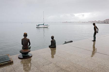 santander: Boat sailing in the Bay of Santander, Spain