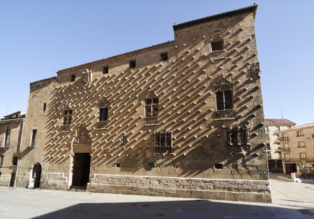 ade: built in the late 15th Century, of Gothic civil style, its façade is decorated with about 350 shells of scallops, distinctive of the Order of Santiago. Also important are the bars Gothic windows. It currently houses a public library. Stock Photo