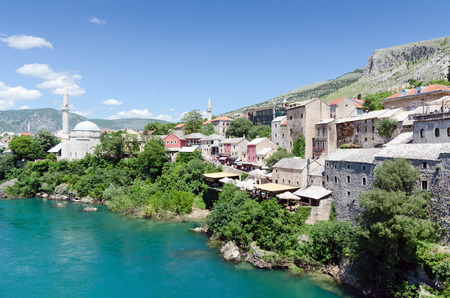 neretva: Neretva River and old city view in clear day