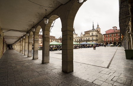 town halls: Arcades of the main square of the town of Leon, Spain.