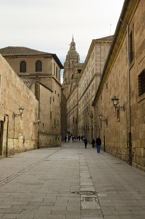 klerus: Church of the Clergy (la Clerecia) at the bottom of the street of the company, in Salamanca, Spain