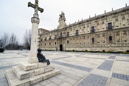 homage: Statue in homage to the pilgrims in front of the convent of San Marcos in León, Spain
