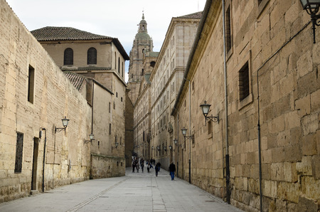 clergy: Church of the Clergy (la Clerecia) at the bottom of the street of the company, in Salamanca, Spain