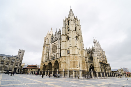 gothic style: The León Cathedral, dedicated to Santa Maria de la Regla, its a masterpiece of the Gothic style built between 1205-1301. It's almost 1,800 square meters of the worlds finest stained glass windows.