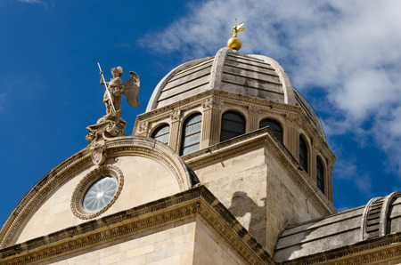 sacral: Dome of the Cathedral of St. James in Sibenik, built entirely of stone and marble, Croatia Stock Photo