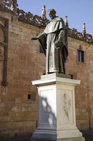 plateresque: Statue of Fray Luis de Leon front of the University of Salamanca, Spain