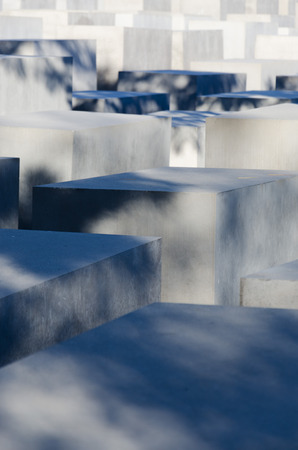 fascism: A view on the Holocaust Memorial in Berlin. There are 2,711 concrete blocks. It reminds on the murdered Jews of Europe. It is located in the heart of Berlin. Editorial