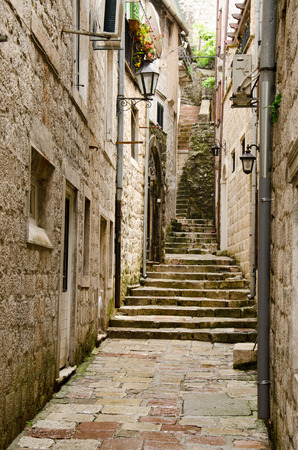 famous places: Stairs in the old town of Kotor, one of the most famous places on Adriatic coast of Montenegro.
