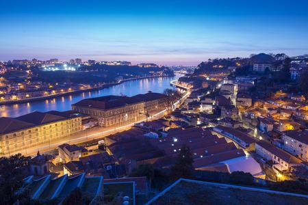 douro: Douro river and Porto view at dusk, Portugal