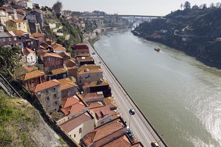 douro: View of Douro river passing through Porto, Portugal