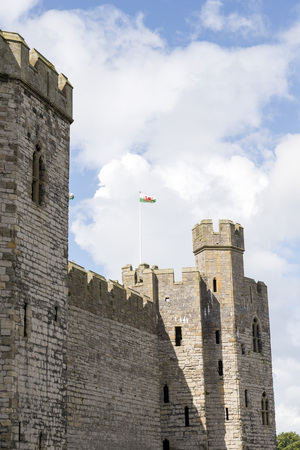 gatehouse: Harlech Castle, Gwynedd, North Wales. Begun in 1283, Harlech Castle remains one of the finest examples of concentric military defensive outposts. Two towers flank the impressive gatehouse.
