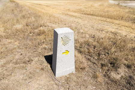 right path: Milestone with the Saint James Shell on it, showing that you are on the right path on the Way of Saint James (Camino de Santiago),