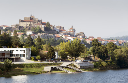neighboring: Panoramic view of the Galician city of Tuy from neighboring Portugal